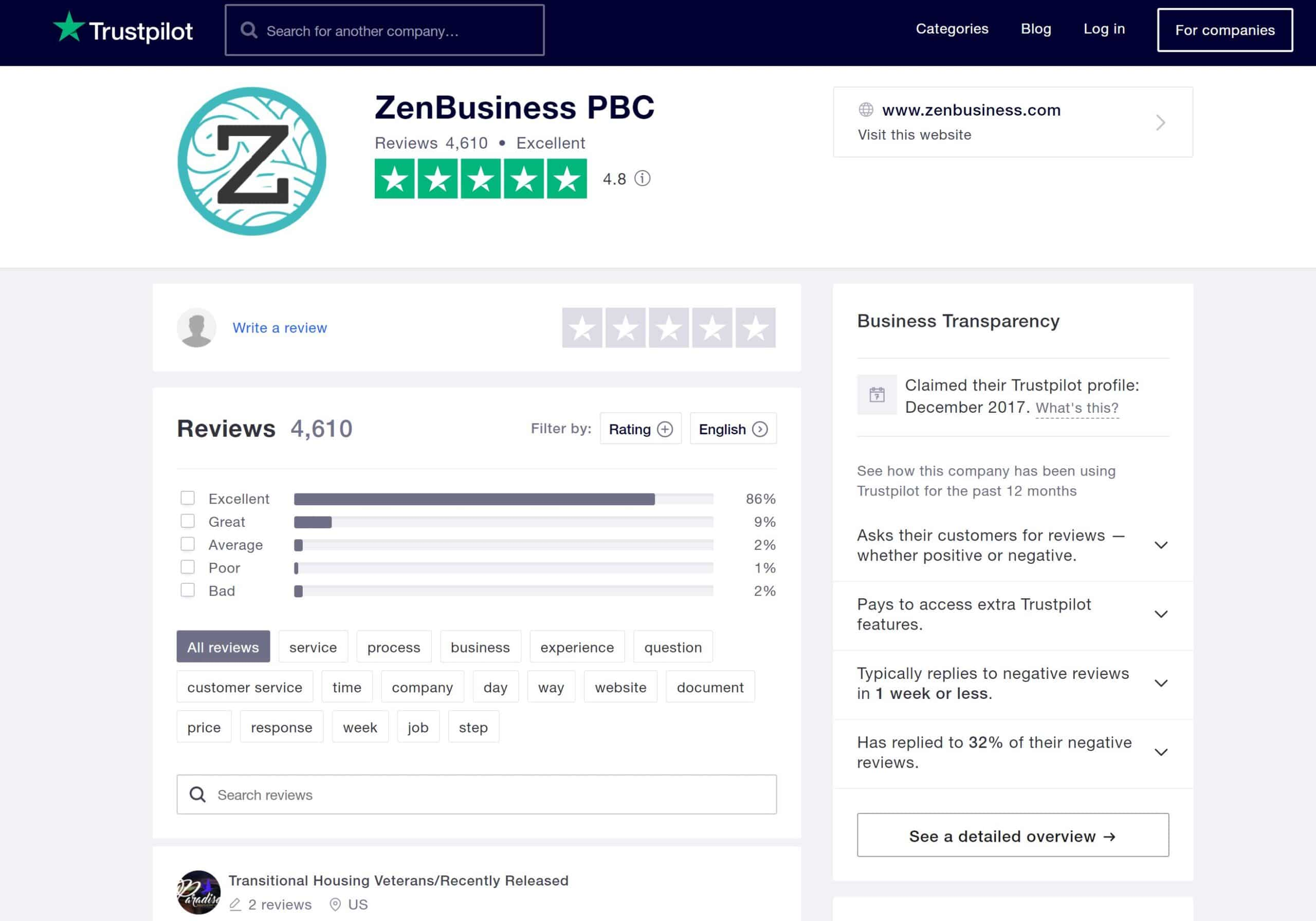 ZenBusiness LLC formation service Trustpilot reviews January 4, 2021
