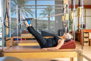 Prenatal Pilates Hip Work on the Cadillac