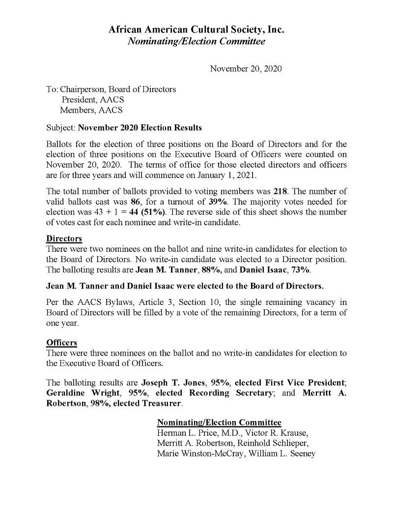 AACS November 2020 Election Results