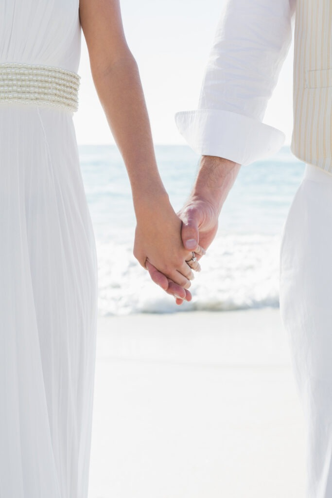 Newlyweds holding hands close up