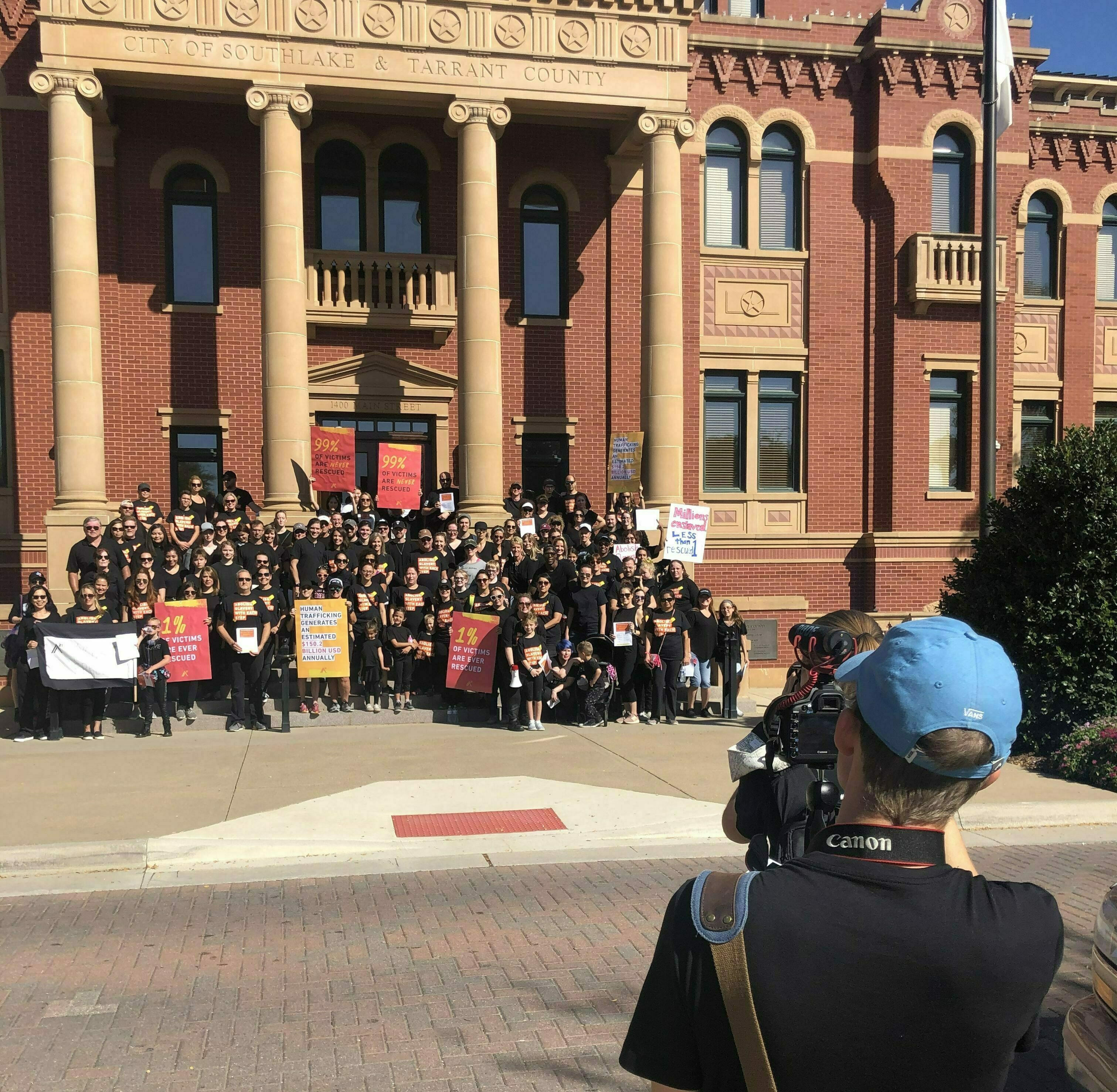 a21 walk for freedom, end human trafficking, video project, filming, court house, protest