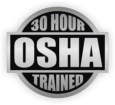 OSHA 30 hour trained badge