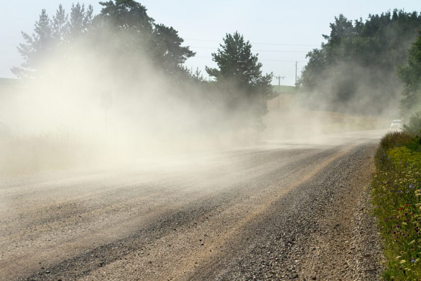 Dust coming off of road