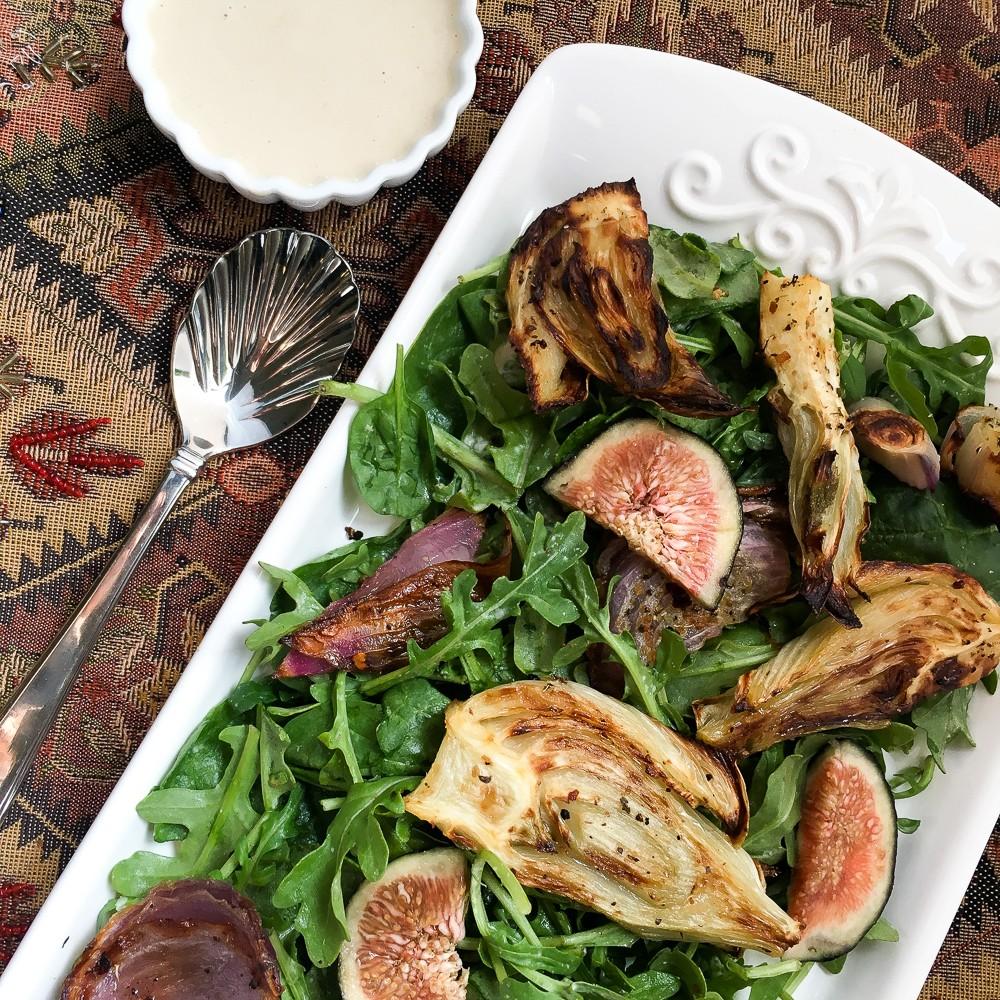 Roasted Fennel Salad with Lemon Tahini Dressing