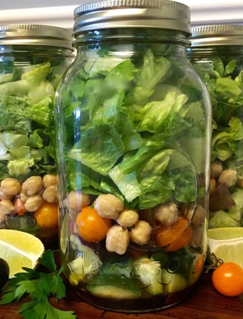 Garden Veggie Mason Jar Salad with Homemade Dressing