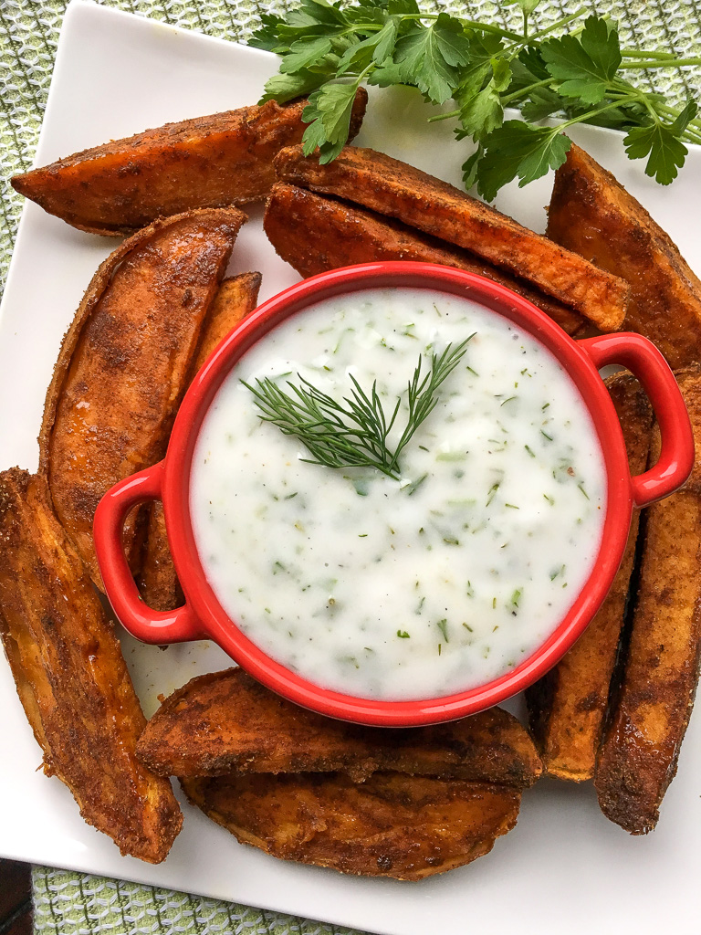 Spicy Sweet Potato Wedges with Herbed Coconut Yogurt Dip