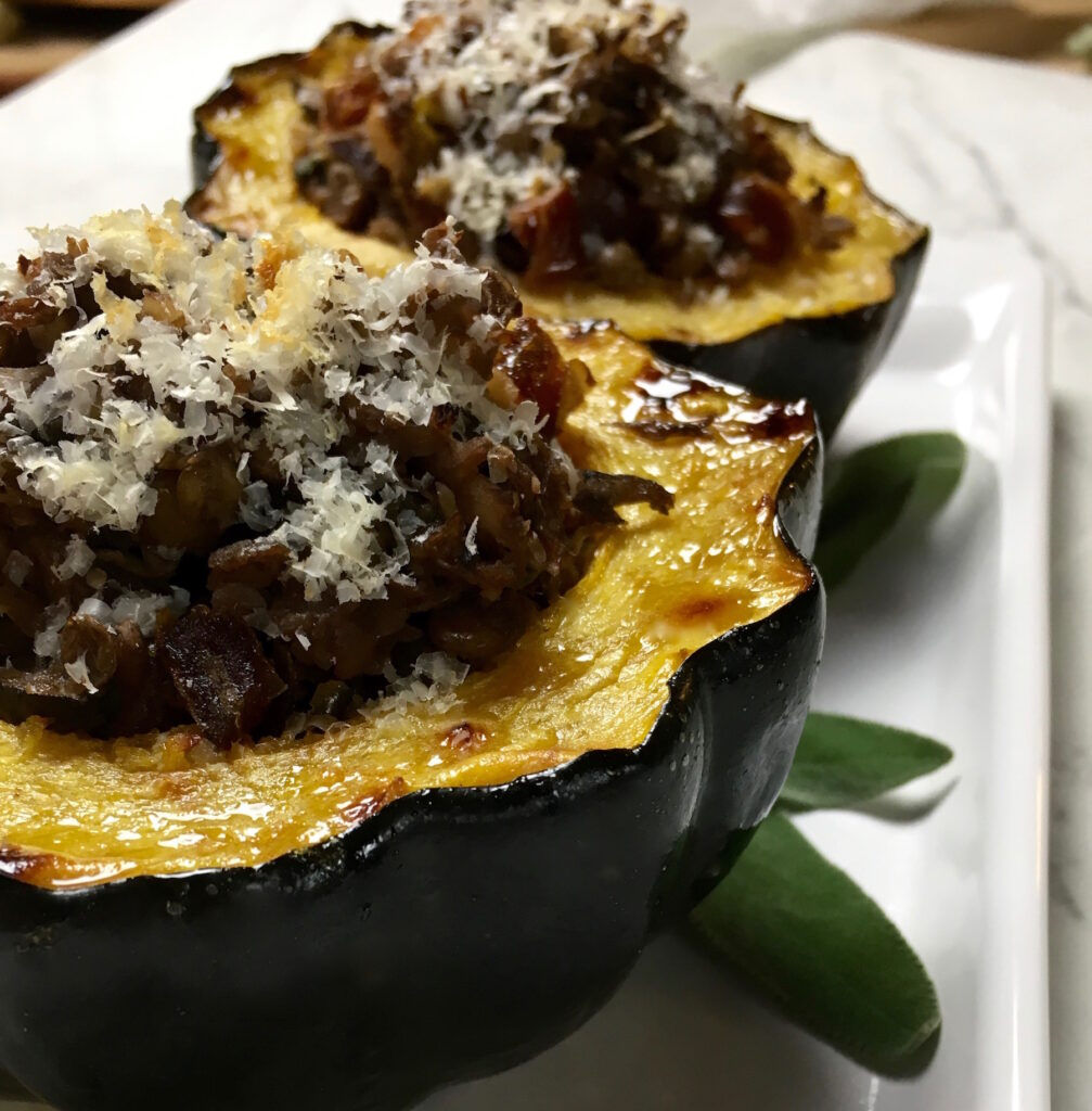Vegan Portobello and Sage Stuffed Acorn Squash