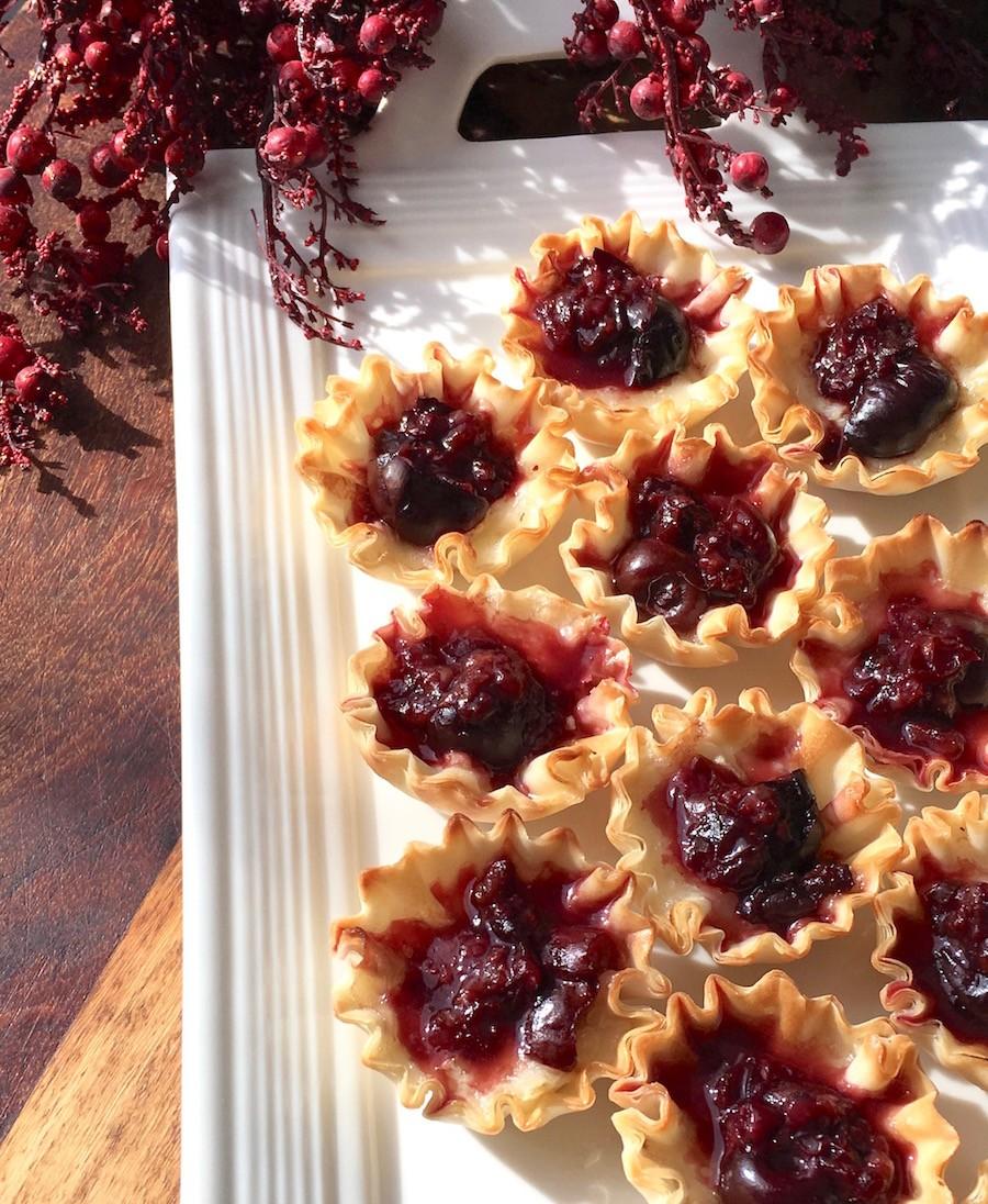 Vegetarian Brie and Cherry Phyllo Bites