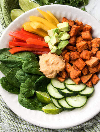 Sweet Potato Buddha Bowl with Sriracha Hummus