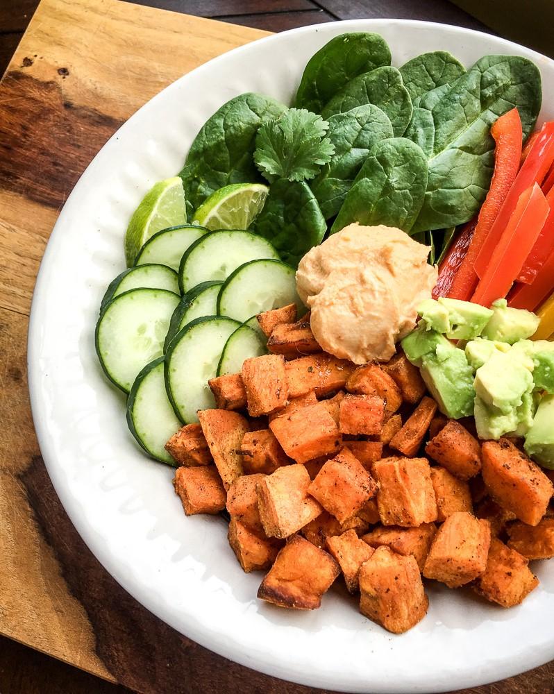 Sweet Potato Buddha Bowl with Sriracha Hummus