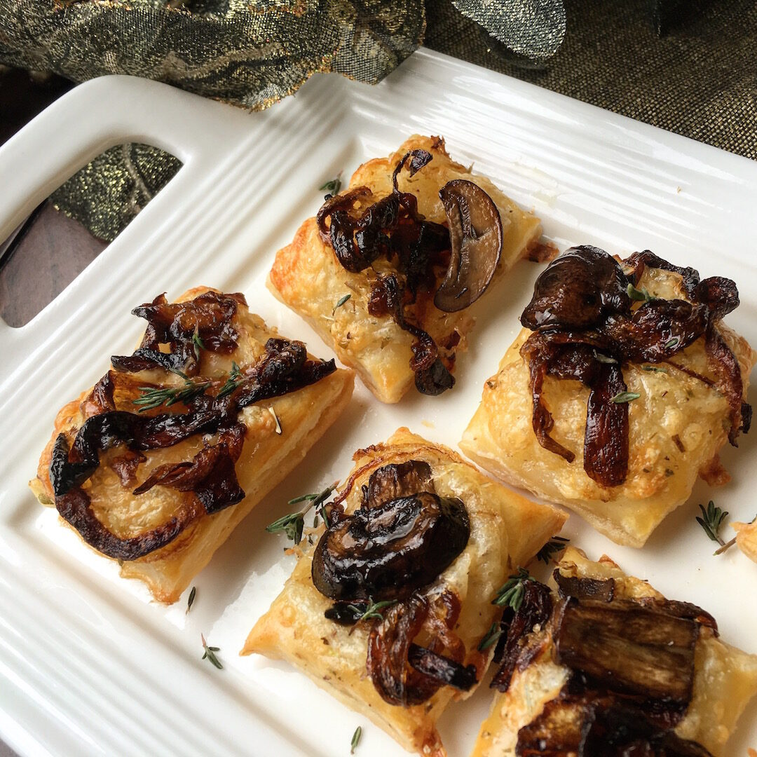 Vegetarian Puff Pastry with Caramelized Onions and Mushrooms