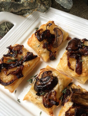 Puff Pastry Bites with Caramelized Onions and Mushrooms