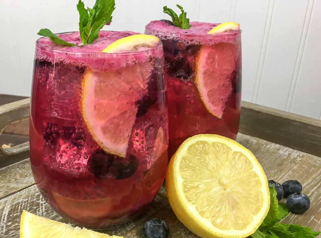 Vegan Sparkling Blueberry Lemonade