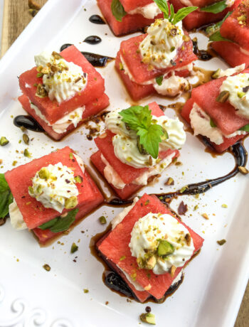 Layered Watermelon, Feta, & Basil Bites