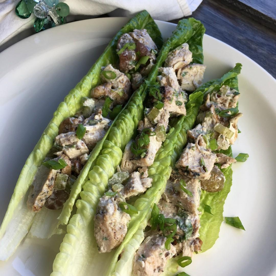 "Vegetarian ""Chicken"" Salad Lettuce Wraps"