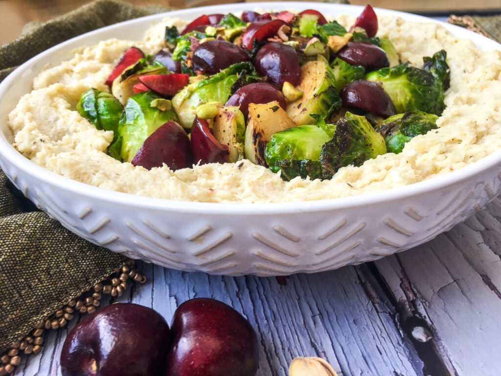 Apple Cauliflower Mash and Brussels Sprouts