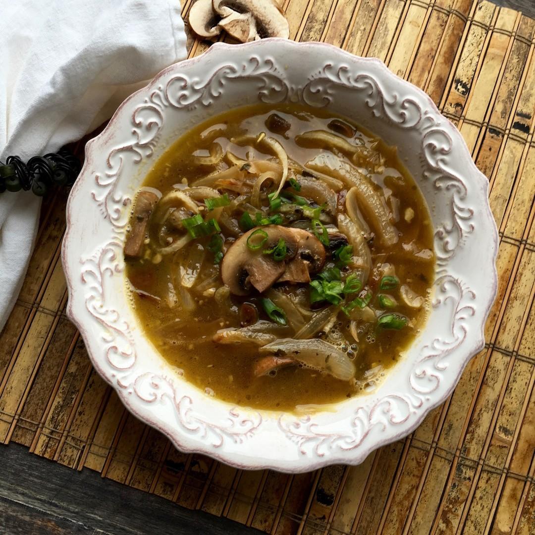 Vegan Portobello Daikon Noodle Soup
