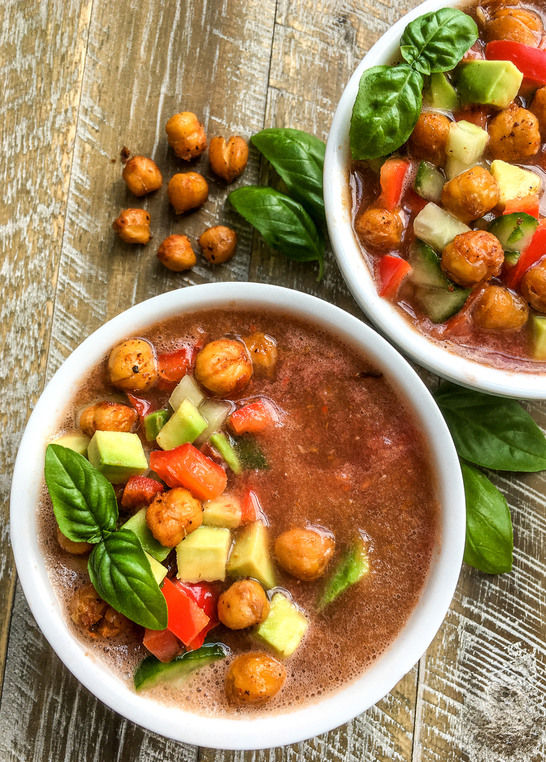 Gazpacho with Chickpea Croutons