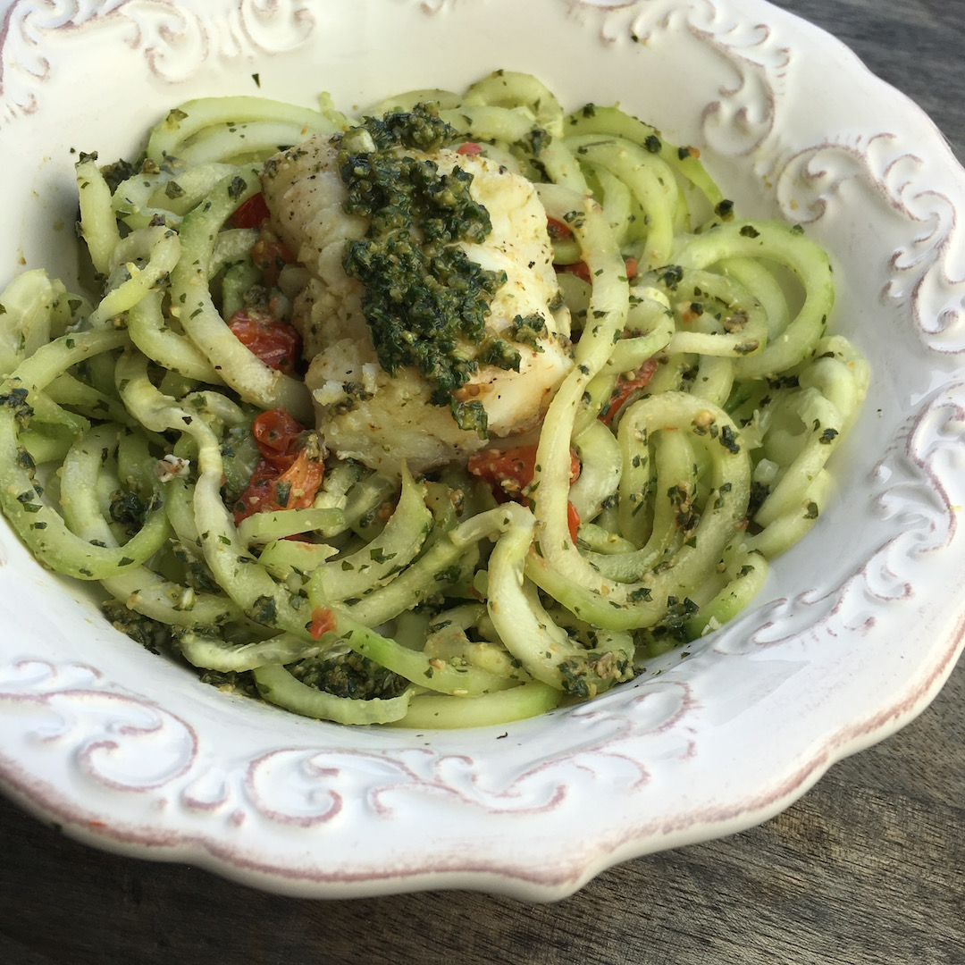 Vegetarian Cucumber Noodles and Pesto