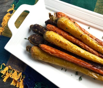 vegan multi-color roasted carrots