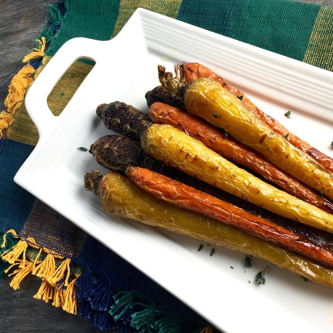 vegan multi-color roasted carrots