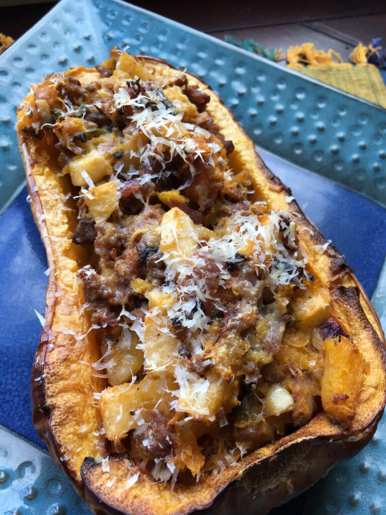 "Vegetarian ""Sausage"" and Apple Stuffed Butternut Squash"