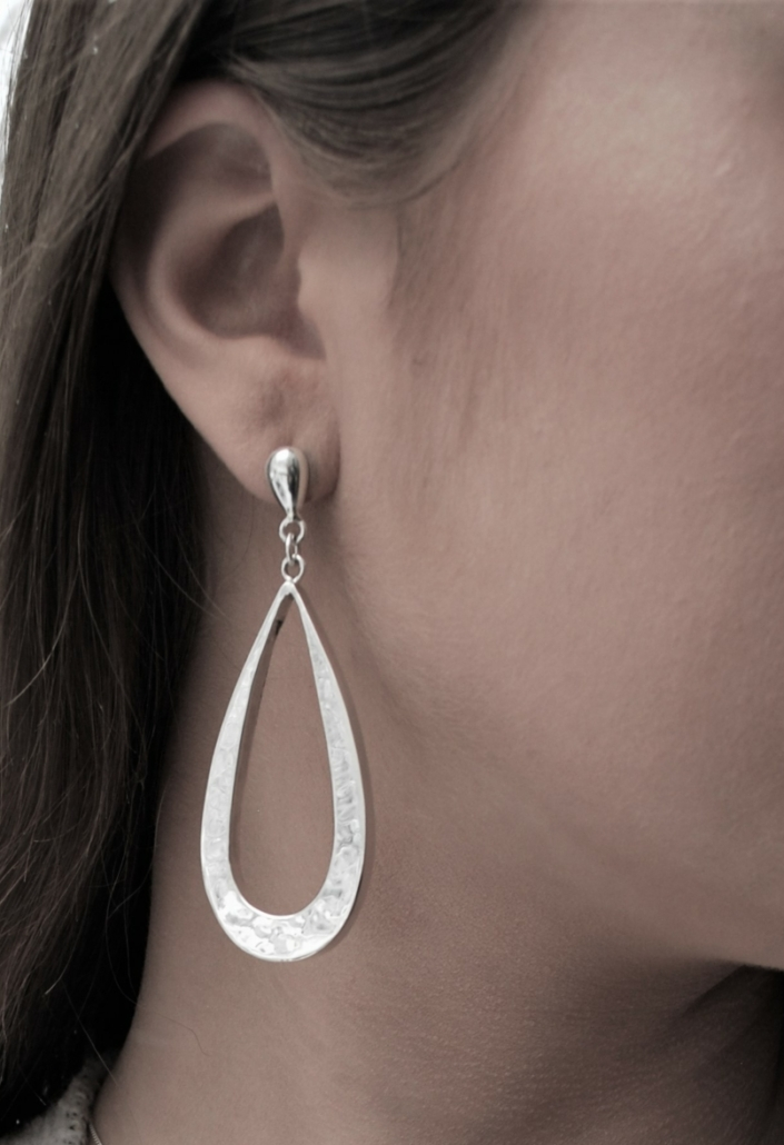 Bella Open Hammered Tear EarringSterling Silver earrings and necklace