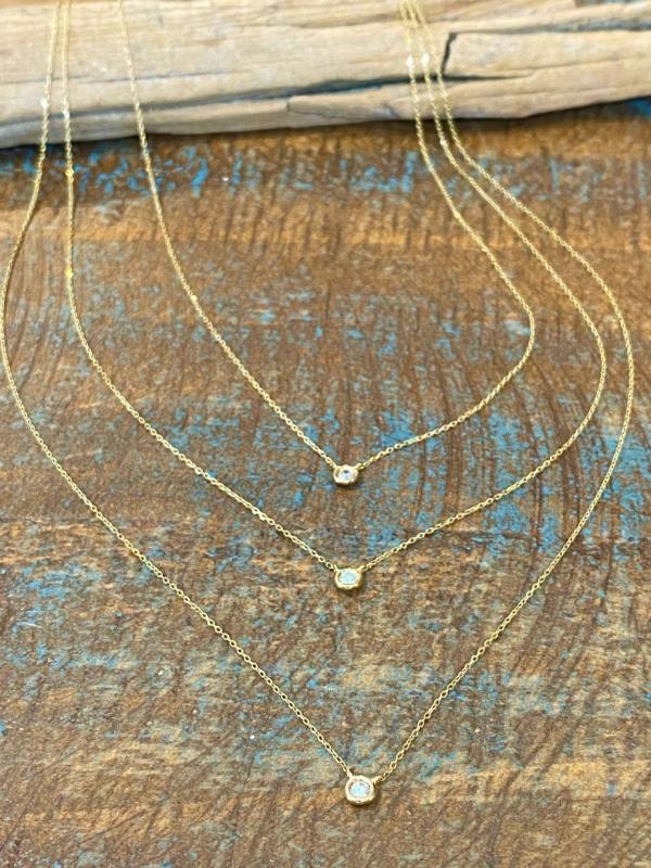 Tiny Bella Gold Triple Bezel Pendant