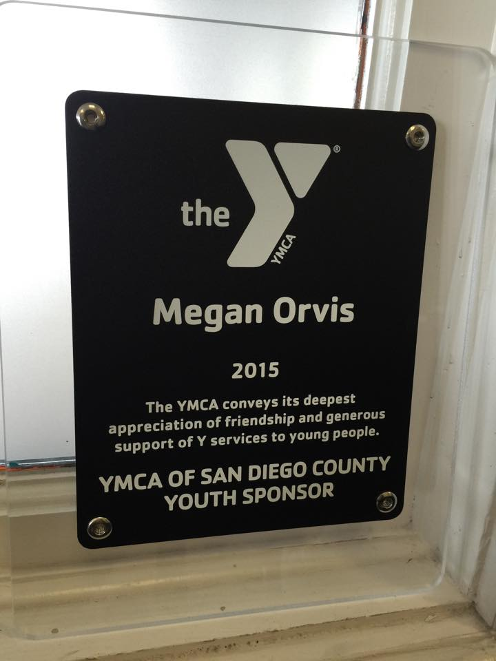 YMCA San Diego County Youth Sponsor plaque