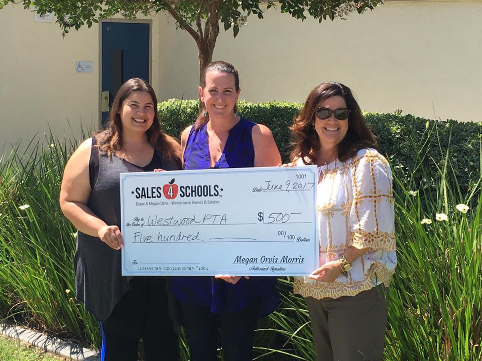 Megan Oris Realtor holding big novelty check to commemorate donation to local school