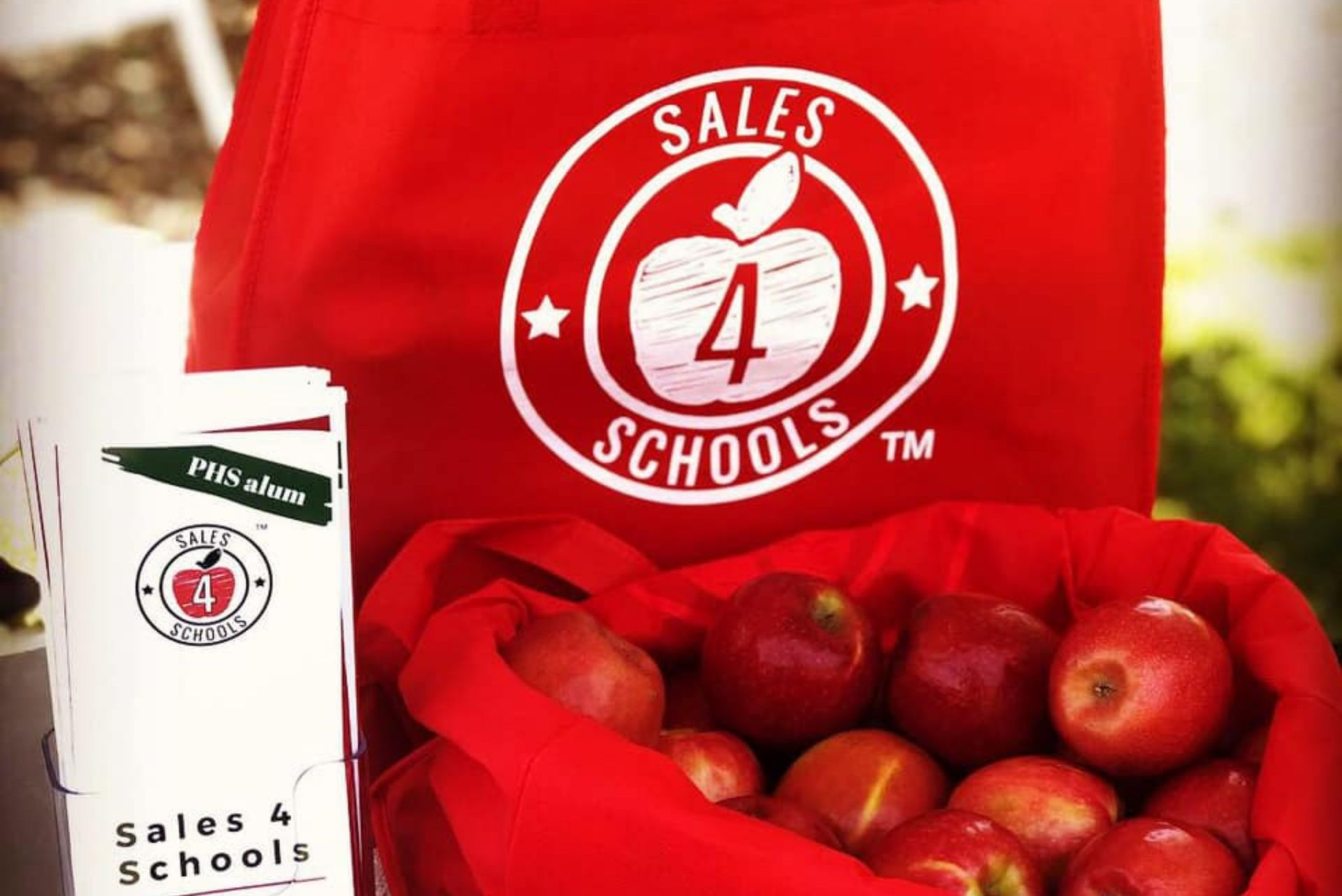 sales 4 schools shopping tote apples
