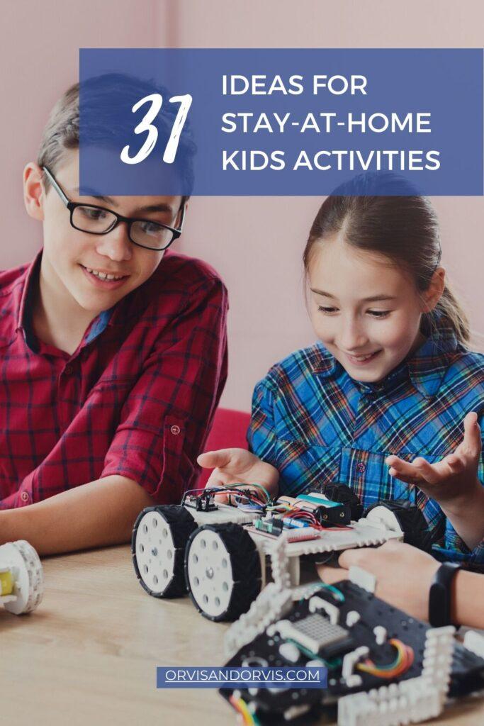Children working as a team on a robot model