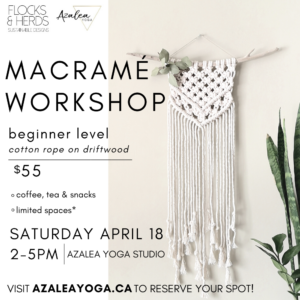 Macrame Workshop -Reschedule***Aug 15 from 2-5pm
