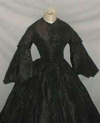 close up of Mourning dress