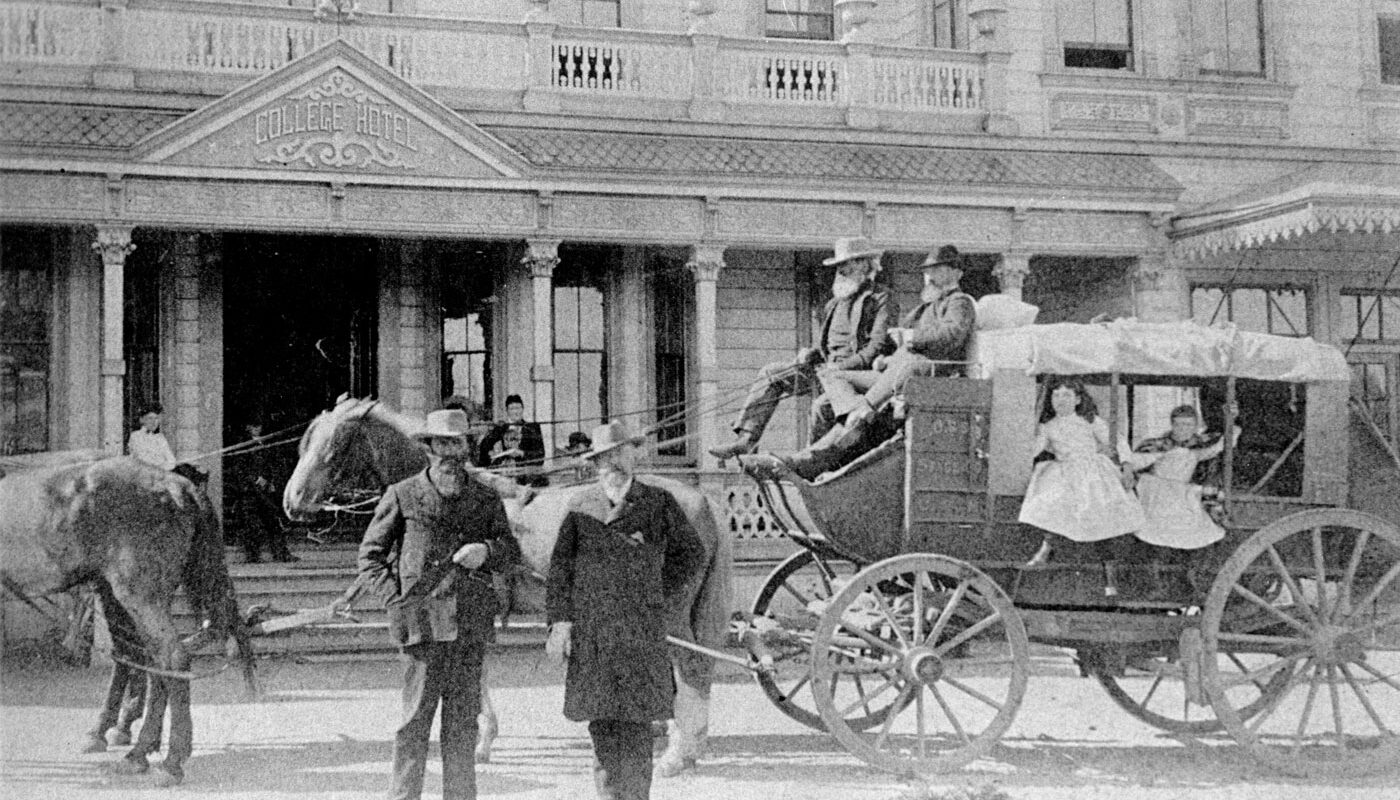 Historic Stagecoach in front of College Hotel