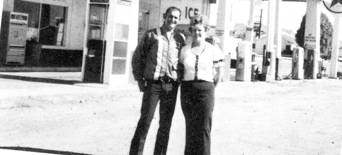 Dave and Jeannie in front of their Texaco Gas Station