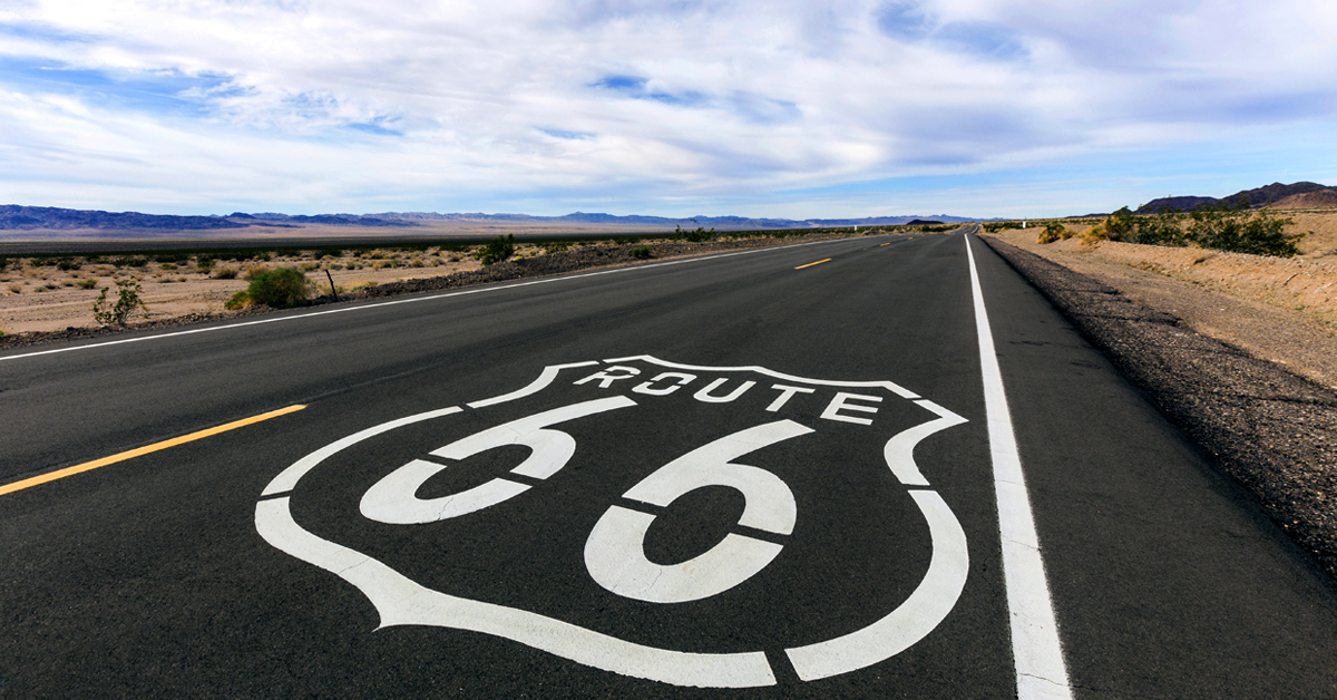Route 66 Attraction - Old Route 66 Sign in Mojave Desert