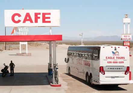 Tour Bus visiting Roy's Motel & Cafe