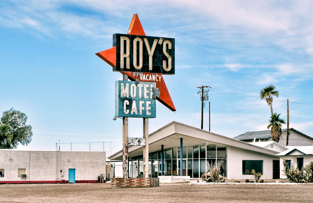 50 foot Roy's Motel and Cafe neon Sign is Erected