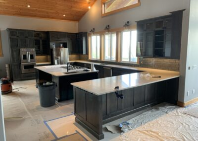 construction of new kitchen with island