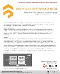 Bus bar Value Engineering Whitepaper