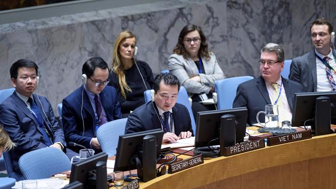 Ông Phạm Hải Anh chủ trì phiên họp của Hội đồng Bảo an Liên Hợp Quốc /// Ảnh BNG