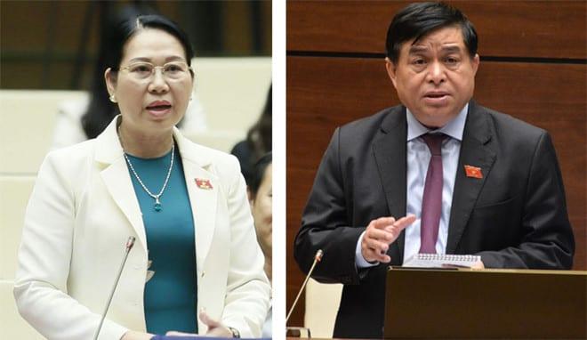 ĐB Nguyễn Thanh Thủy (Hậu Giang, trái) và Bộ trưởng KH-ĐT Nguyễn Chí Dũng /// Ảnh: Quang Hoàng