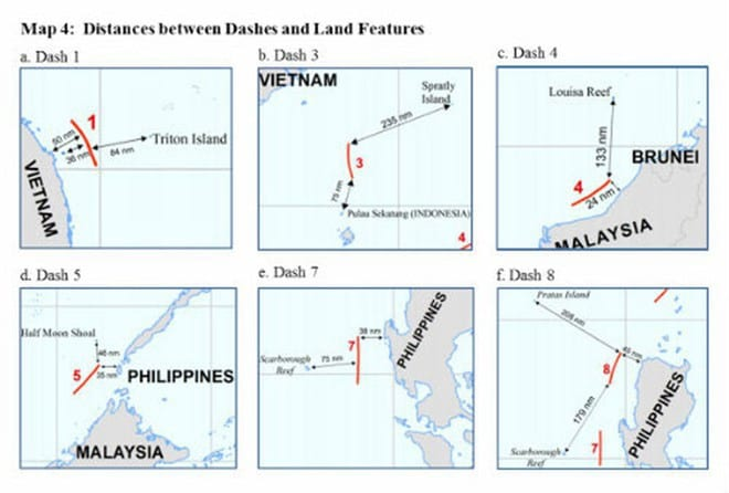 Đường lưỡi bò là yêu sách phi lý của Trung Quốc /// Chụp từ báo cáo của Bộ Ngoại giao Mỹ