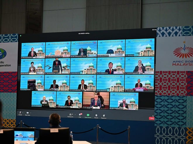 Hội nghị các nhà lãnh đạo kinh tế APEC 27 diễn ra dưới hình thức trực tuyến /// ẢNH: AFP