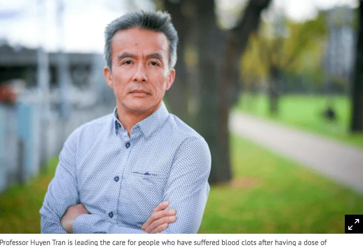 Bác sĩ Huyen Tran, người điều trị cho hầu hết bệnh nhân mắc chứng đông máu sau tiêm vắc xin AstraZeneca tại bang Victoria, Úc /// Ảnh chụp màn hình The Sydney Morning Herald