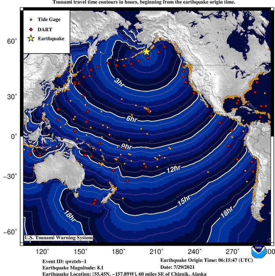 Cảnh báo sóng thần khắp Thái Bình Dương sau động đất rung chuyển Alaska - ảnh 1