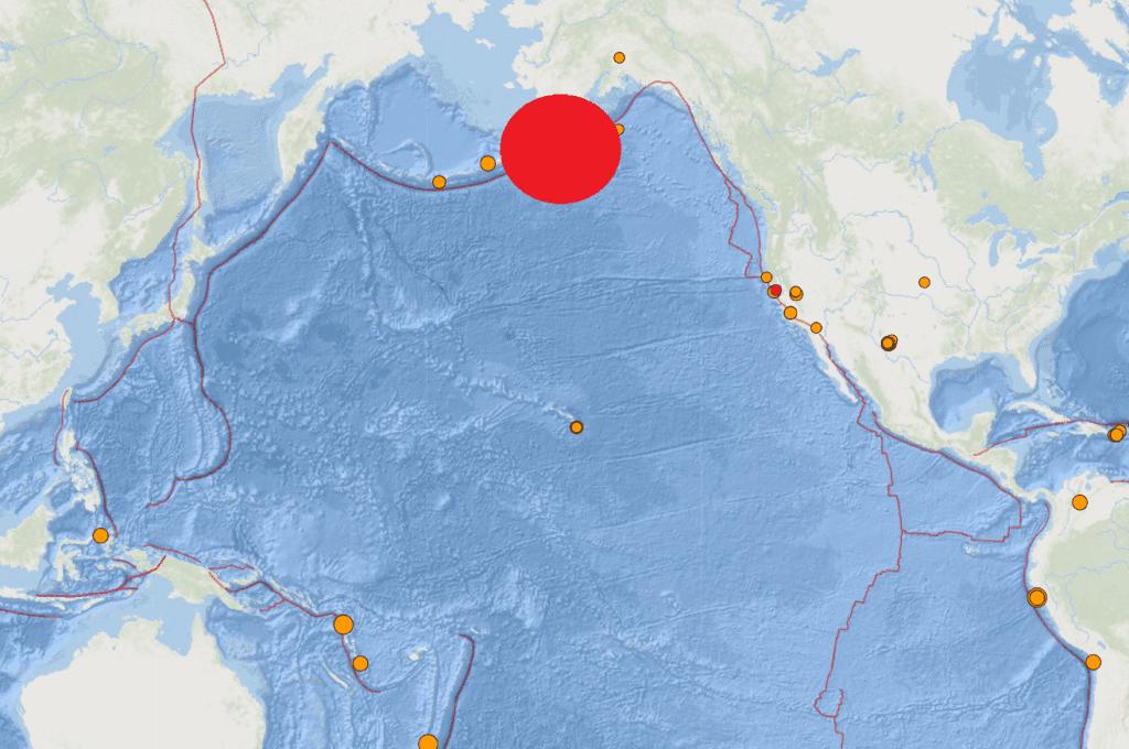 Vị trí trận động đất ở Alaska /// Ảnh chụp màn hình Weatherboy