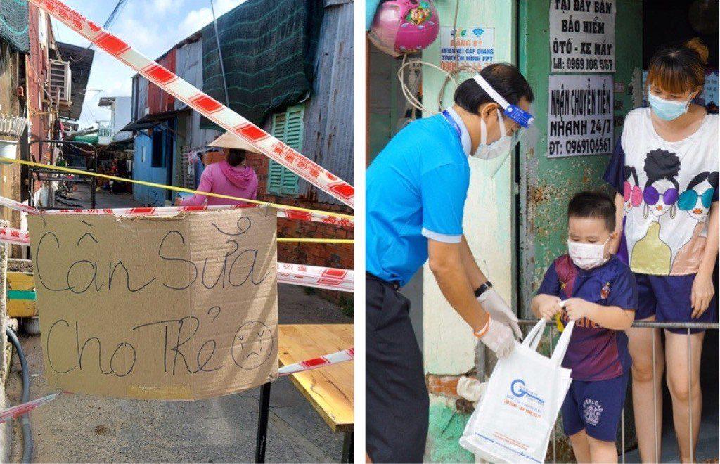 Vì quá khó khăn và không còn kinh tế trang trải, nhiều hộ công nhân đã treo bảng trước các khu phong toả để cầu cứu sữa cho con /// HOA NỮ
