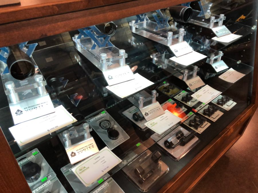 Gun scopes for sale at Timberline Firearms retail shop